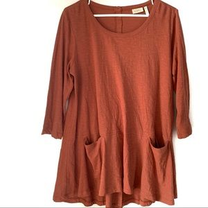 Logo Rust Colored Top with Two Front Pockets